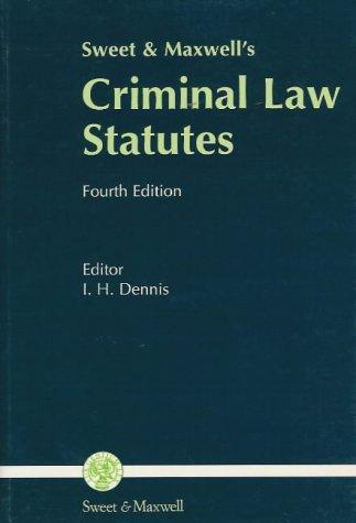 Download Sweet and Maxwell's Criminal Law Statutes