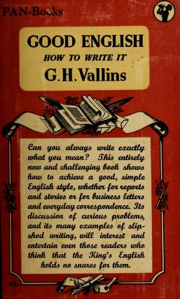 Cover of: Good English | George Henry Vallins