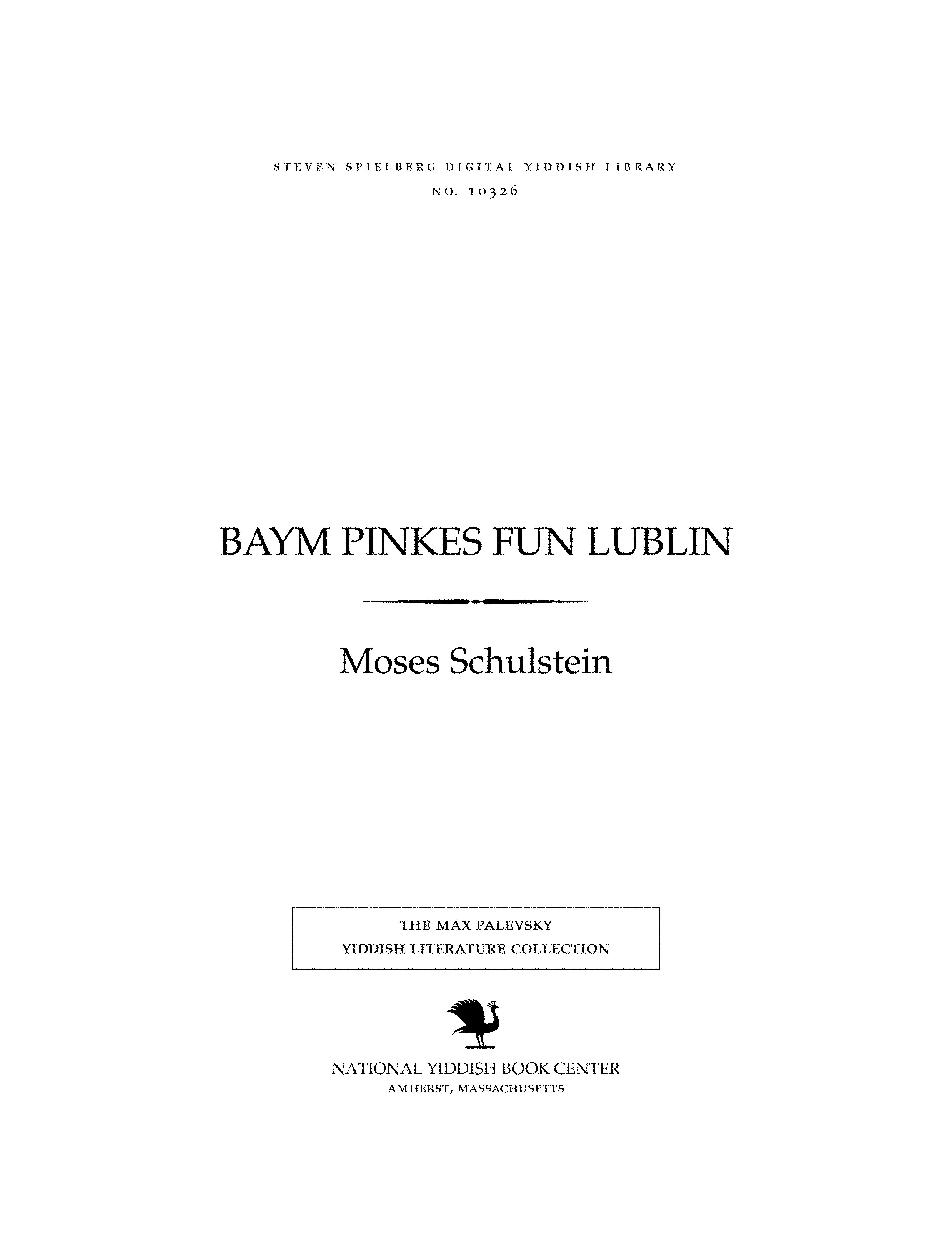 Cover of: Baym pinḳes fun Lublin
