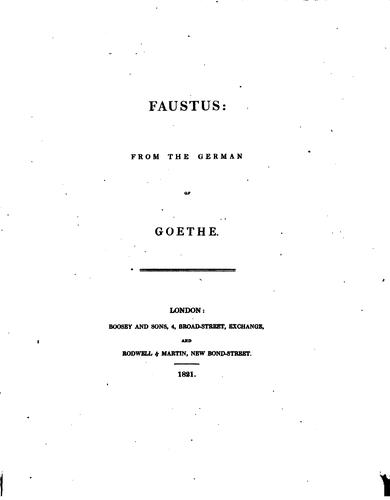 Faustus: from the German by John Leonard Greenberg