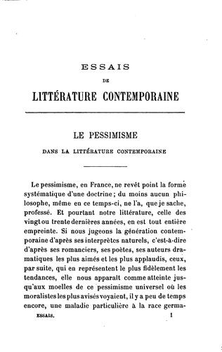 Essais de littérature contemporaine by Georges Pellissier